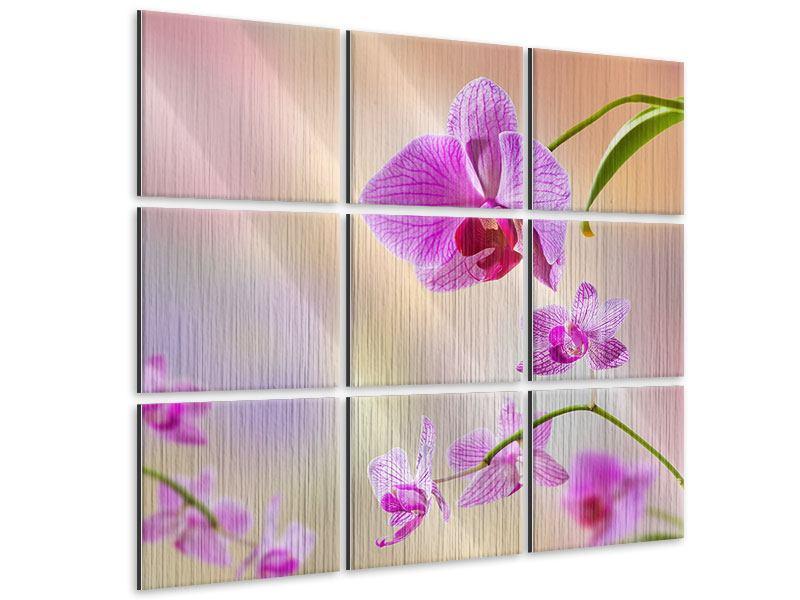 Metallic-Bild 9-teilig Romantische Orchideen