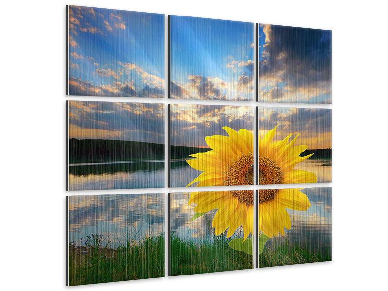 Metallic-Bild 9-teilig Sonnenblume am See