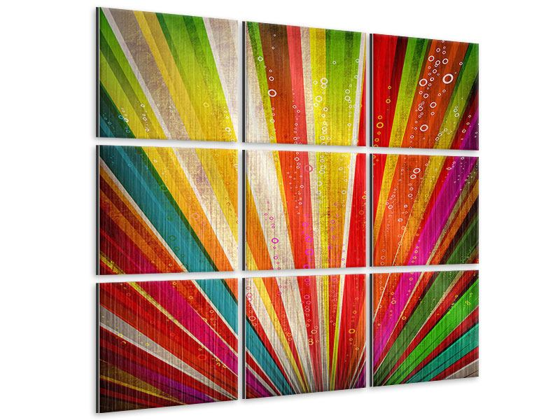Metallic-Bild 9-teilig Abstrakte Farbstrahlen
