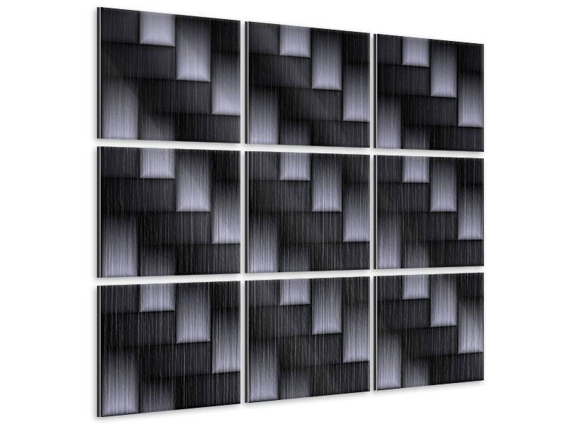 Metallic-Bild 9-teilig 3D-Treppen