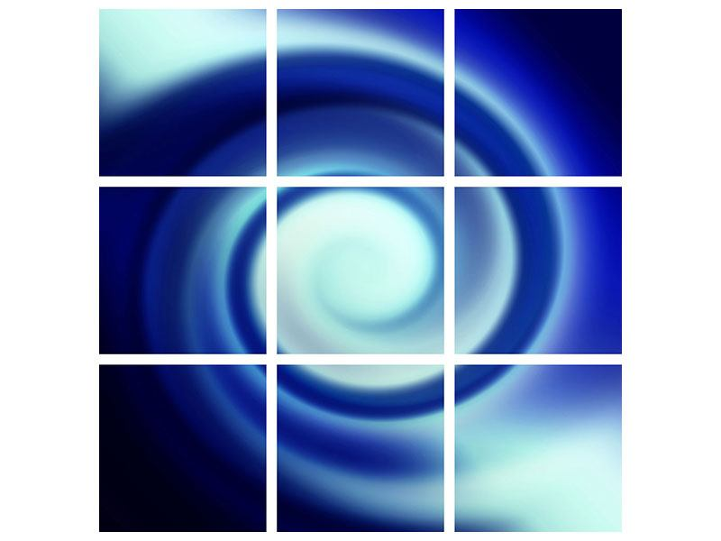 Metallic-Bild 9-teilig Abstrakte Blaue Wirbel