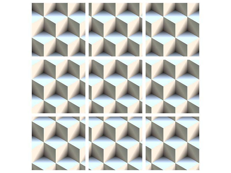 Metallic-Bild 9-teilig 3D-Polytop