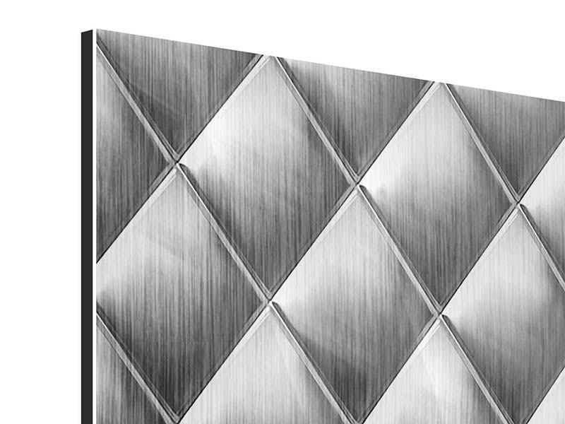 Metallic-Bild 9-teilig 3D-Rauten Silbergrau