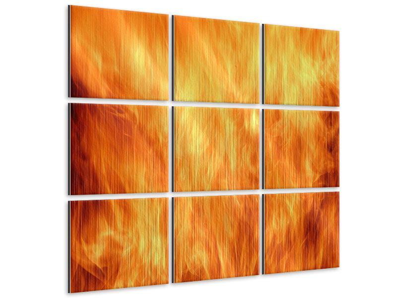 Metallic-Bild 9-teilig Flammen