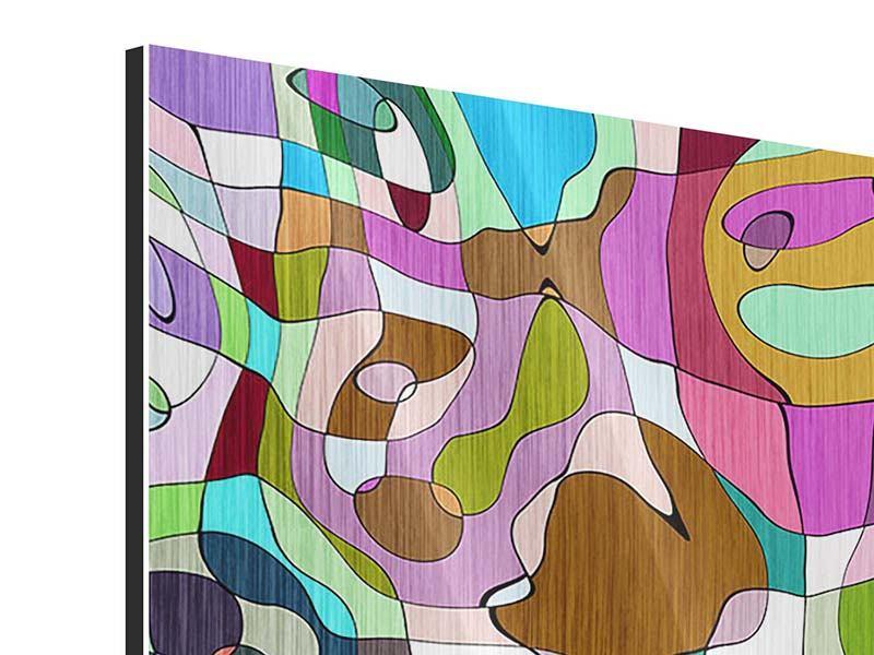 Metallic-Bild 9-teilig Kubistisches Gemälde