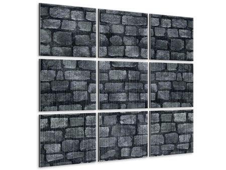 Metallic-Bild 9-teilig Graue Steinmauer