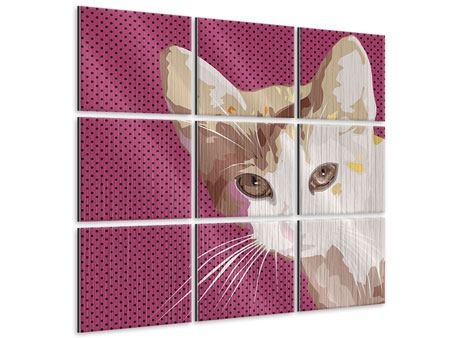 Metallic-Bild 9-teilig Pop Art Katze