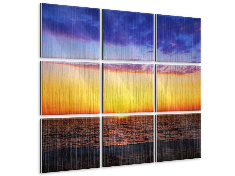 Metallic-Bild 9-teilig Leuchtender Sonnenuntergang