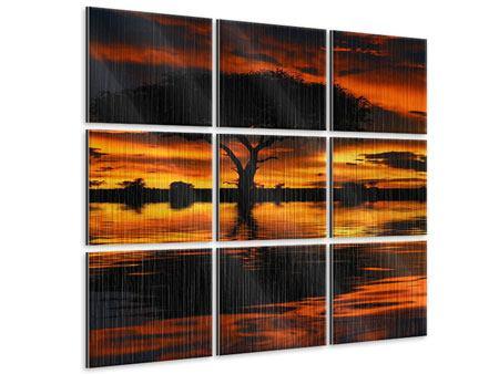 Metallic-Bild 9-teilig Sonnenuntergang in Kenia