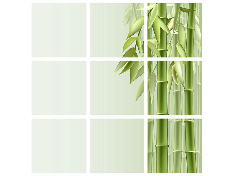 Metallic-Bild 9-teilig Bambuswall
