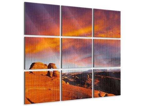 Metallic-Bild 9-teilig Sonnenuntergang im Canon