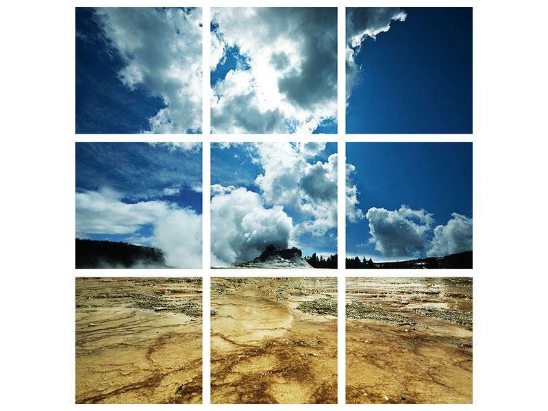 Metallic-Bild 9-teilig Vulkanlandschaft