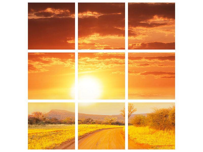 Metallic-Bild 9-teilig Sonnenuntergang in der Savanne