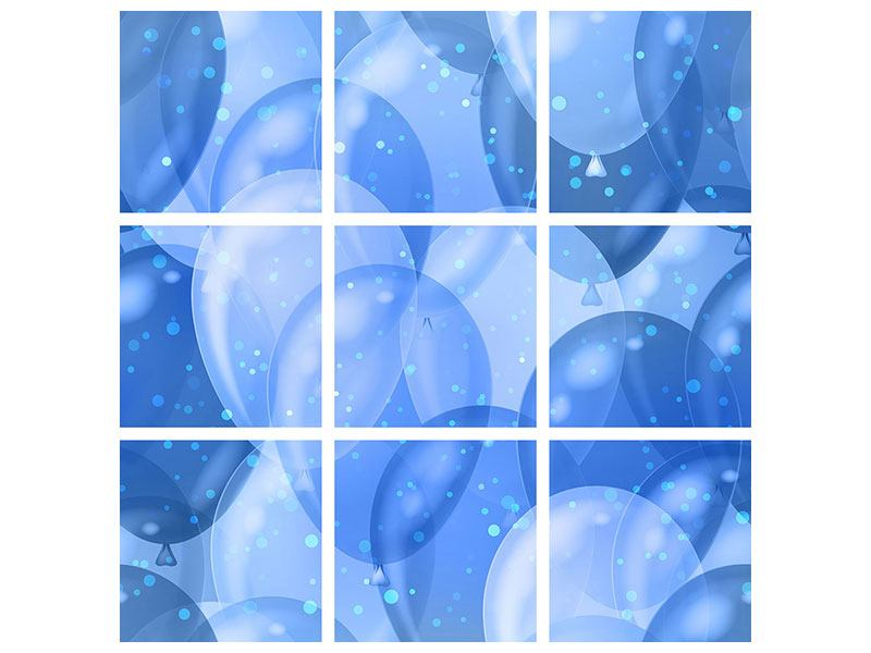 Metallic-Bild 9-teilig Blaue Ballons