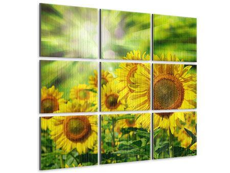 Metallic-Bild 9-teilig Die Sonne und die Blumen
