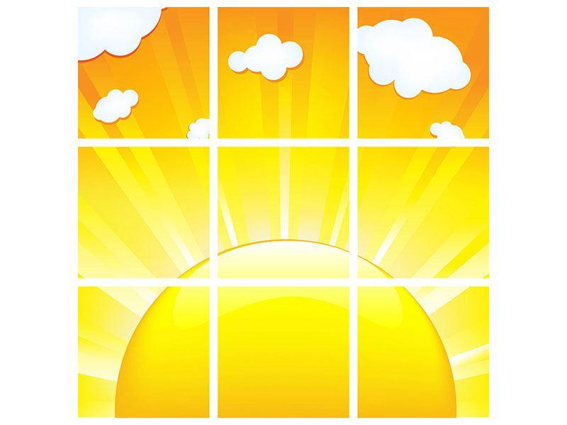 Metallic-Bild 9-teilig Die Sonne geht auf