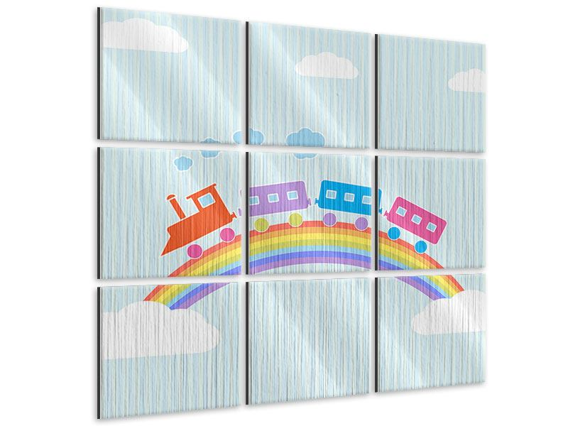 Metallic-Bild 9-teilig Der Regenbogenzug