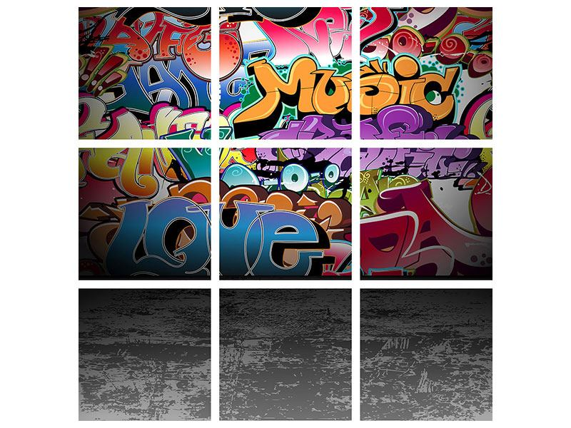 Metallic-Bild 9-teilig Graffiti-Writing