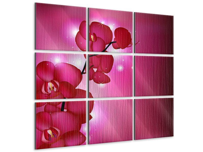 Metallic-Bild 9-teilig Orchideenmärchen