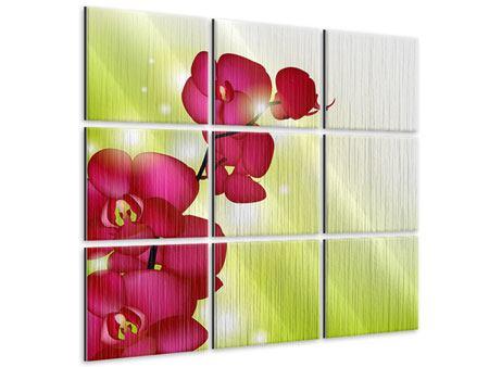 Metallic-Bild 9-teilig Heiligtum der Orchidee