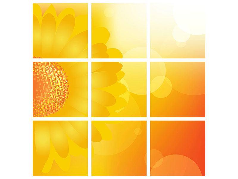 Metallic-Bild 9-teilig Sunflower Power