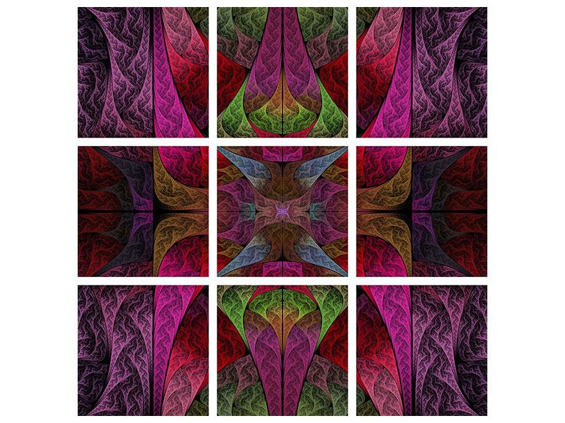 Metallic-Bild 9-teilig Fraktales Muster