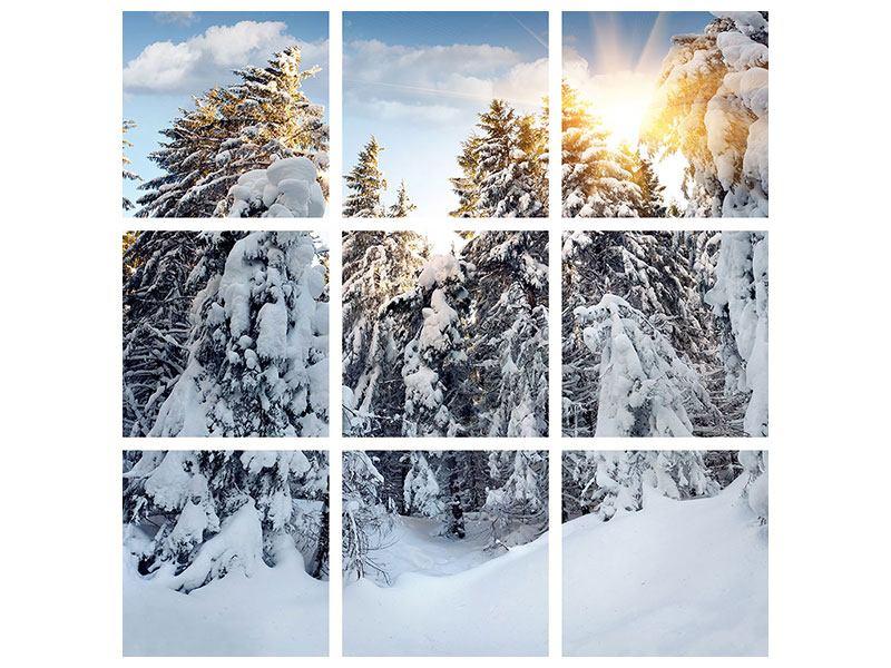 Metallic-Bild 9-teilig Tannen im Schnee
