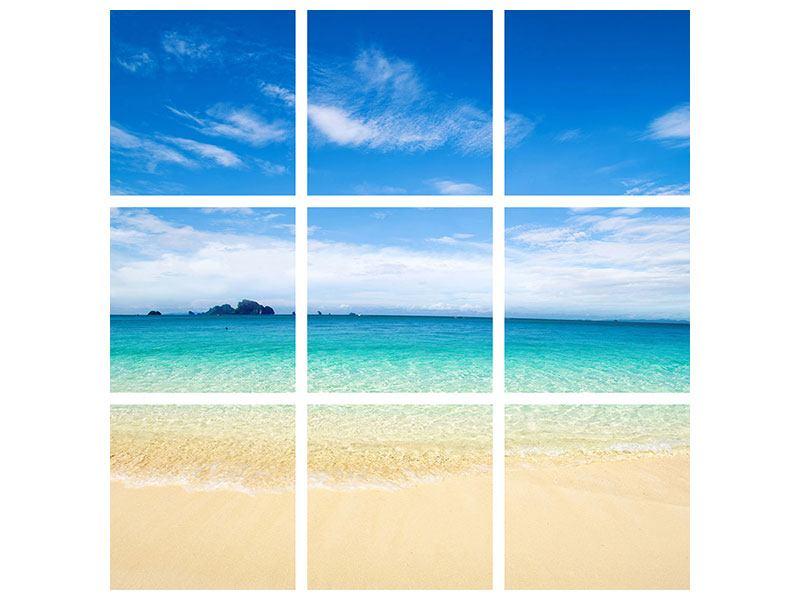 Metallic-Bild 9-teilig Blaue Lagune