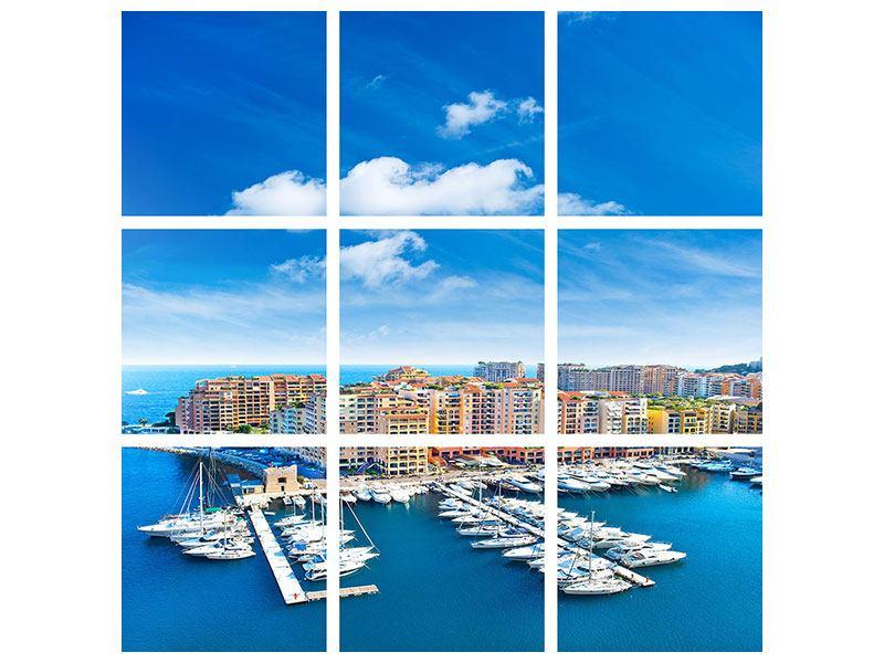 Metallic-Bild 9-teilig Skyline Panoramablick Jachthafen Monaco