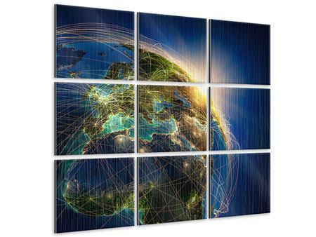 Metallic-Bild 9-teilig Der Planet Erde