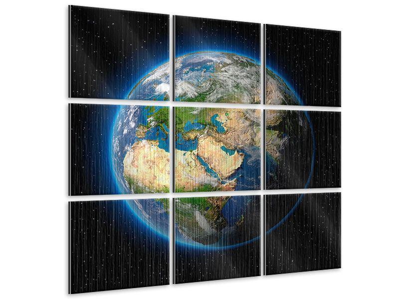 Metallic-Bild 9-teilig Die Erde als Planet