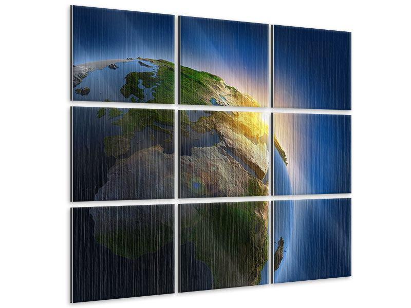 Metallic-Bild 9-teilig Sonne und Erde