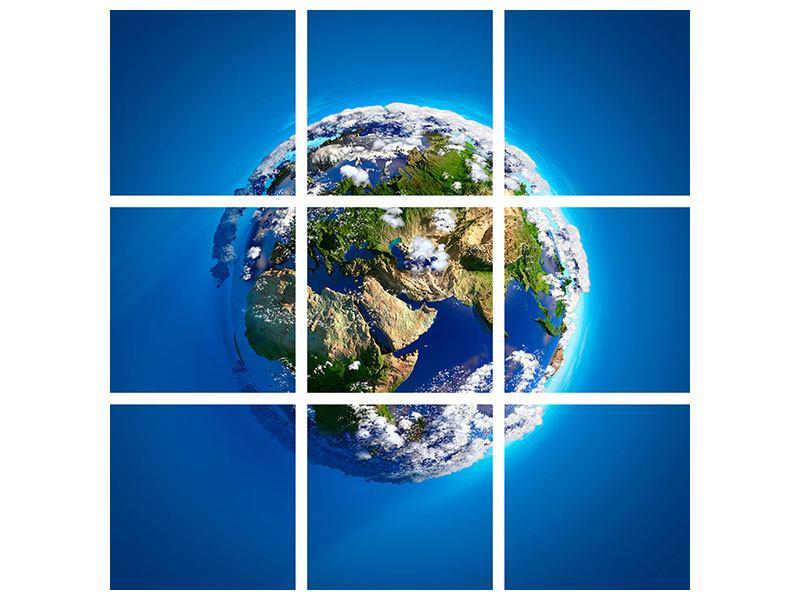 Metallic-Bild 9-teilig Planet Earth
