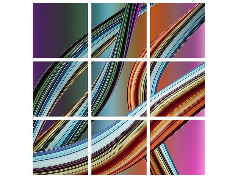 Metallic-Bild 9-teilig Wellengleich