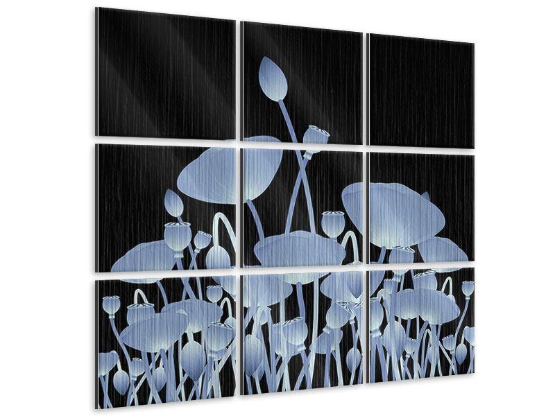 Metallic-Bild 9-teilig Futurische Blumen