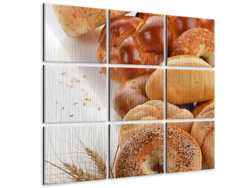 Metallic-Bild 9-teilig Frühstücksbrötchen