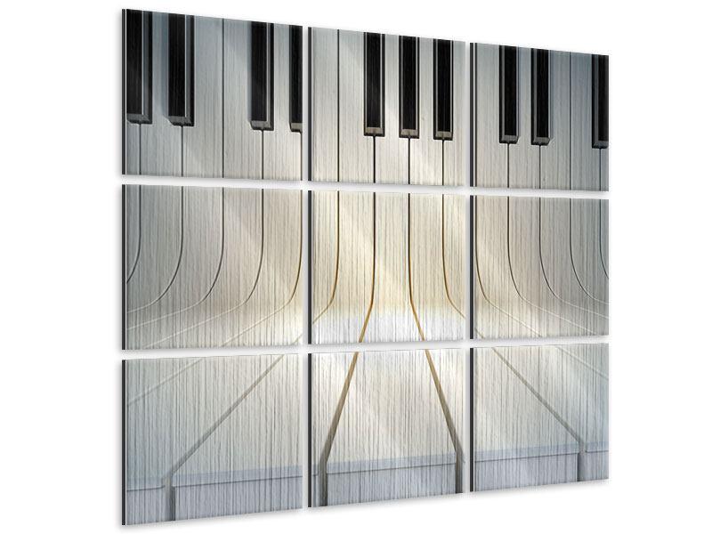 Metallic-Bild 9-teilig Klaviertasten