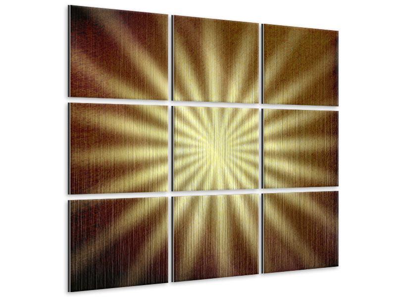 Metallic-Bild 9-teilig Abstrakte Sonnenstrahlen