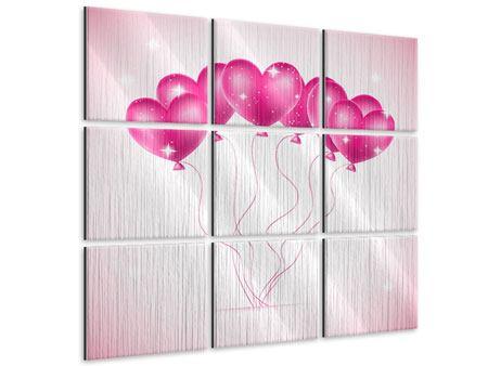 Metallic-Bild 9-teilig Herzballons