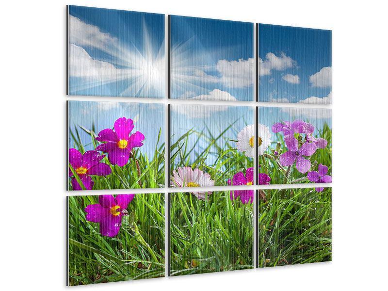 Metallic-Bild 9-teilig Blumenwiese