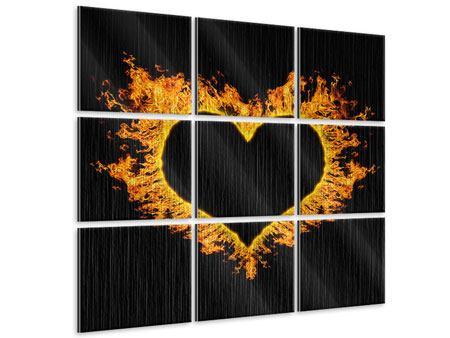 Metallic-Bild 9-teilig Herzflamme