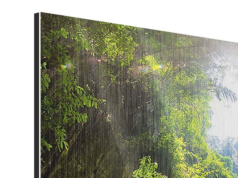 Metallic-Bild 9-teilig Lichtung im Dschungel