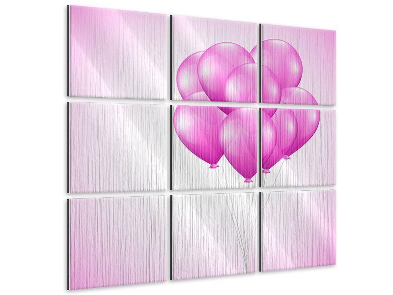 Metallic-Bild 9-teilig Rosarote Luftballons
