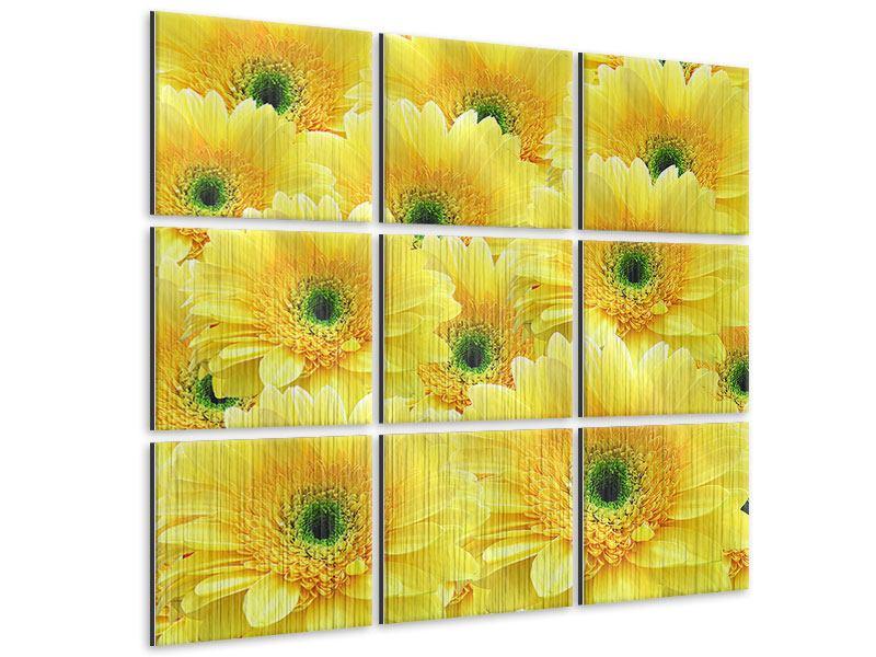 Metallic-Bild 9-teilig Flower Power Blumen