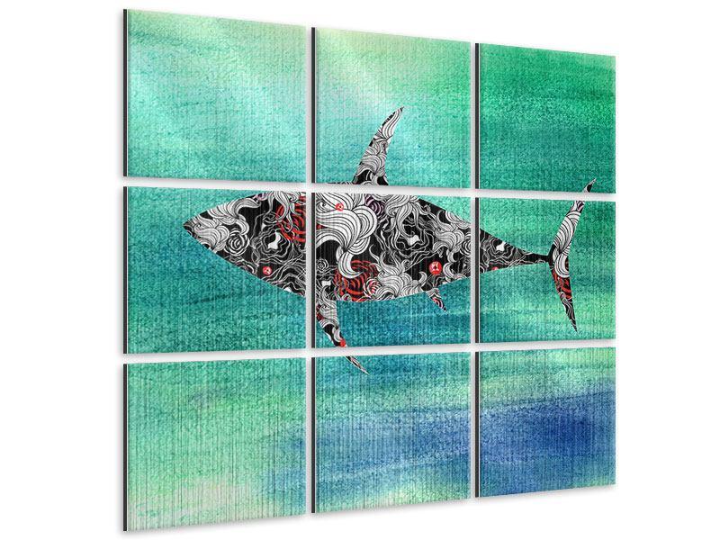 Metallic-Bild 9-teilig Haifisch-Ornament