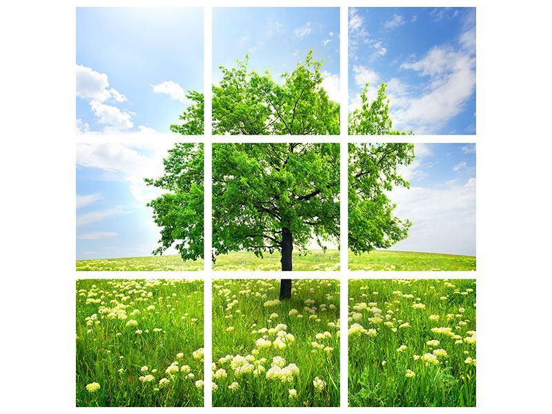 Metallic-Bild 9-teilig Der Baum