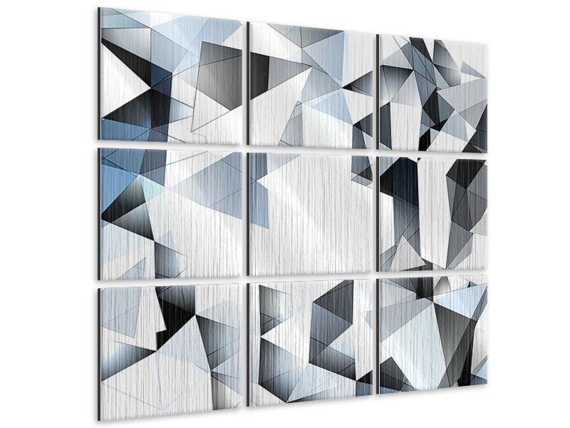 Metallic-Bild 9-teilig 3D-Kristalle