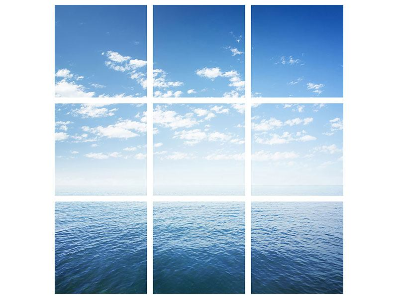 Metallic-Bild 9-teilig Unendlichkeit Meer