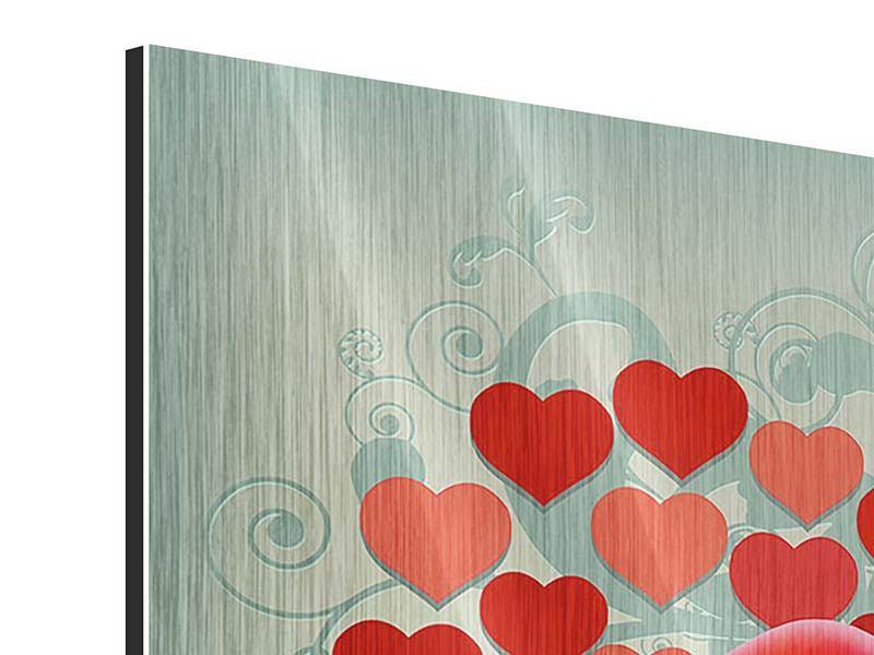 Metallic-Bild 9-teilig Rote Lippen soll man küssen