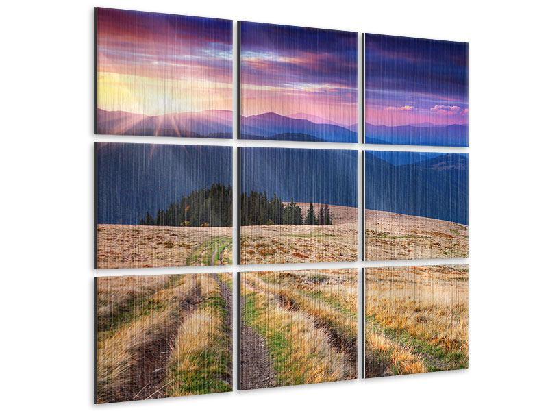 Metallic-Bild 9-teilig Sonnenuntergang in der Bergwelt
